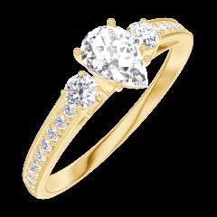 Creare Inel de Logodnă 160425 Aur galben 18 carate - Diamant natural Pară 0.3 carate - Pietre laterale Diamant natural - Încrustare Diamant natural