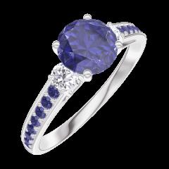 Creare Inel de Logodnă 166035 Aur alb 18 carate - Safir albastru Rotund 0.7 carate - Pietre laterale Diamant natural - Încrustare Safir albastru
