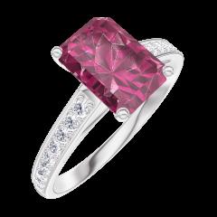 Creare Inel de Logodnă 168008 Aur alb 9 carate - Rubin Smarald 1 carate - Încrustare Diamant natural