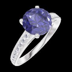 Creare Inel de Logodnă 168408 Aur alb 9 carate - Safir albastru Rotund 1 carate - Încrustare Diamant natural