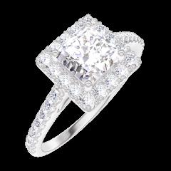 Creare Inel de Logodnă 170055 Aur alb 18 carate - Diamant natural Princess 0.5 carate - Halo Diamant natural - Încrustare Diamant natural