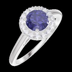 Creare Inel de Logodnă 170580 Aur alb 9 carate - Safir albastru Rotund 0.5 carate - Halo Diamant