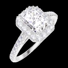 Creare Inel de Logodnă 190103 Aur alb 18 carate - Diamant sintetic Smarald 0.5 carate - Halo Diamant natural - Încrustare Diamant natural