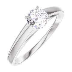 Create Engagement Ring 160003 White gold 18 carats - Diamond white Round 0.3 Carats