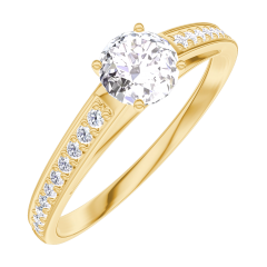 Create Engagement Ring 160005 Yellow gold 18 carats - Diamond white Round 0.3 Carats - Setting Diamond white