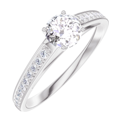 Create Engagement Ring 160007 White gold 18 carats - Diamond white Round 0.3 Carats - Setting Diamond white