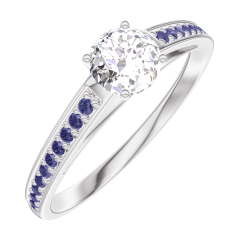 Create Engagement Ring 160015 White gold 18 carats - Diamond white Round 0.3 Carats - Setting Blue Sapphire