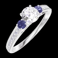 Create Engagement Ring 160067 Weißgold 750/-(18Kt) - Diamant Rund 0.3 Karat - Seitliche Steine Saphir blau - Fassung Diamant