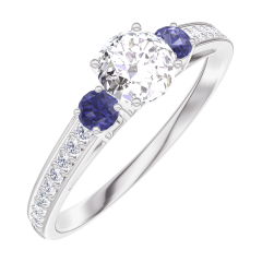 Create Engagement Ring 160067 White gold 18 carats - Diamond white Round 0.3 Carats - Ring settings Blue Sapphire - Setting Diamond white