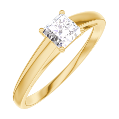 Create Engagement Ring 160101 Yellow gold 18 carats - Diamond white Princess 0.3 Carats