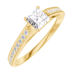 Create Engagement Ring 160105 Yellow gold 18 carats - Diamond white Princess 0.3 Carats - Setting Diamond white
