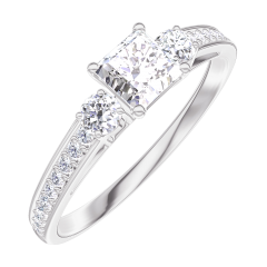 Create Engagement Ring 160127 White gold 18 carats - Diamond white Princess 0.3 Carats - Ring settings Diamond white - Setting Diamond white