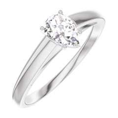 Create Engagement Ring 160403 White gold 18 carats - Diamond white Pear 0.3 Carats