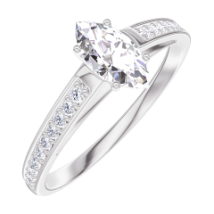 Create Engagement Ring 160507 White gold 18 carats - Diamond white Marquise 0.3 Carats - Setting Diamond white