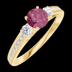 Create Engagement Ring 160625 Gelbgold 750/-(18Kt) - Rubin Rund 0.3 Karat - Seitliche Steine Natürlicher Diamant - Fassung Natürlicher Diamant