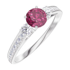 Create Engagement Ring 160628 White gold 9 carats - Ruby Round 0.3 Carats - Ring settings Diamond white - Setting Diamond white