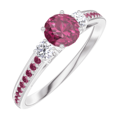 Create Engagement Ring 160632 White gold 9 carats - Ruby Round 0.3 Carats - Ring settings Diamond white - Setting Ruby