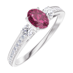 Create Engagement Ring 160928 White gold 9 carats - Ruby Oval 0.3 Carats - Ring settings Diamond white - Setting Diamond white