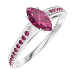 Create Engagement Ring 161112 White gold 9 carats - Ruby Marquise 0.3 Carats - Setting Ruby