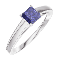 Create Engagement Ring 161304 White gold 9 carats - Blue Sapphire Princess 0.3 Carats
