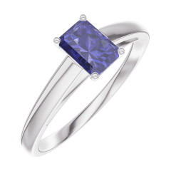 Create Engagement Ring 161404 White gold 9 carats - Blue Sapphire Baguette 0.3 Carats