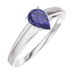 Create Engagement Ring 161604 White gold 9 carats - Blue Sapphire Pear 0.3 Carats