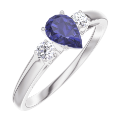 Create Engagement Ring 161624 White gold 9 carats - Blue Sapphire Pear 0.3 Carats - Ring settings Diamond white