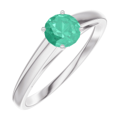 Create Engagement Ring 161804 White gold 9 carats - Emerald Round 0.3 Carats