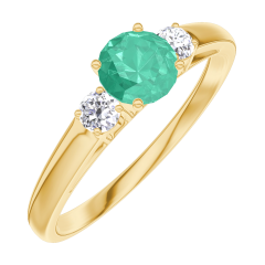 Create Engagement Ring 161821 Yellow gold 18 carats - Emerald Round 0.3 Carats - Ring settings Diamond white