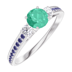 Create Engagement Ring 161836 White gold 9 carats - Emerald Round 0.3 Carats - Ring settings Diamond white - Setting Blue Sapphire