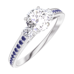 Create Engagement Ring 162435 White gold 18 carats - Diamond white Round 0.5 Carats - Ring settings Diamond white - Setting Blue Sapphire