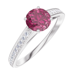 Create Engagement Ring 163007 White gold 18 carats - Ruby Round 0.5 Carats - Setting Natural Diamond
