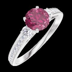 Create Engagement Ring 163028 Weißgold 375/-(9Kt) - Rubin Rund 0.5 Karat - Seitliche Steine Diamant - Fassung Diamant