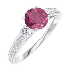 Create Engagement Ring 163028 White gold 9 carats - Ruby Round 0.5 Carats - Ring settings Diamond white - Setting Diamond white