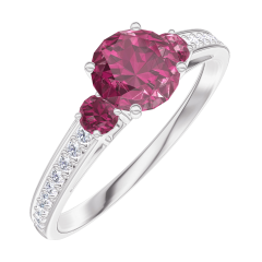 Create Engagement Ring 163047 White gold 18 carats - Ruby Round 0.5 Carats - Ring settings Ruby - Setting Diamond white