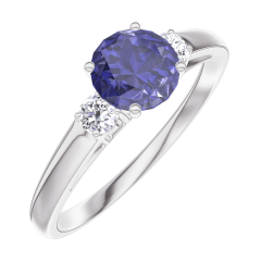 Create Engagement Ring 163624 White gold 9 carats - Blue Sapphire Round 0.5 Carats - Ring settings Diamond white