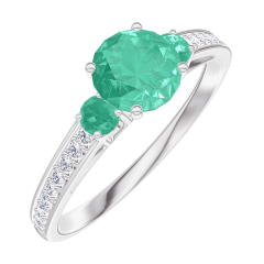 Create Engagement Ring 164288 White gold 9 carats - Emerald Round 0.5 Carats - Ring settings Emerald - Setting Diamond white