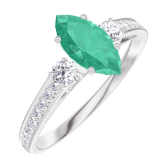 Create Engagement Ring 164728 White gold 9 carats - Emerald Marquise 0.5 Carats - Ring settings Diamond white - Setting Diamond white