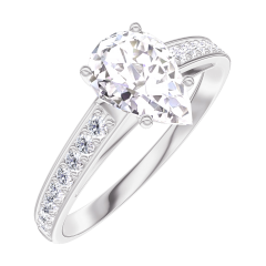 Create Engagement Ring 165207 White gold 18 carats - Diamond white Pear 0.7 Carats - Setting Diamond white