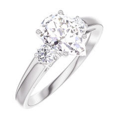Create Engagement Ring 165223 White gold 18 carats - Diamond white Pear 0.7 Carats - Ring settings Diamond white