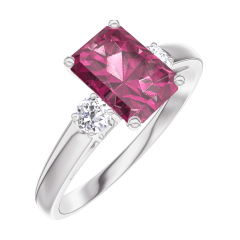 Create Engagement Ring 165624 White gold 9 carats - Ruby Baguette 0.7 Carats - Ring settings Diamond white