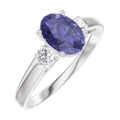 Create Engagement Ring 166324 White gold 9 carats - Blue Sapphire Oval 0.7 Carats - Ring settings Diamond white