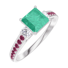 Create Engagement Ring 166732 White gold 9 carats - Emerald Princess 0.7 Carats - Ring settings Diamond white - Setting Ruby