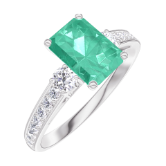 Create Engagement Ring 166828 White gold 9 carats - Emerald Baguette 0.7 Carats - Ring settings Diamond white - Setting Diamond white