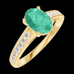 Create Engagement Ring 166905 Yellow gold 18 carats - Emerald Oval 0.7 Carats - Setting Diamond white