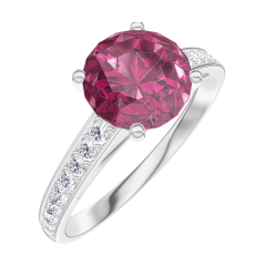 Create Engagement Ring 167808 White gold 9 carats - Ruby Round 1 Carats - Setting Diamond white