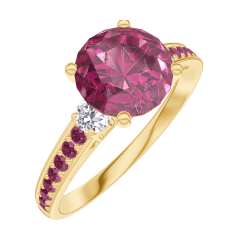 Create Engagement Ring 167829 Yellow gold 18 carats - Ruby Round 1 Carats - Ring settings Diamond white - Setting Ruby