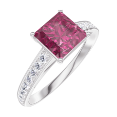 Create Engagement Ring 167908 White gold 9 carats - Ruby Princess 1 Carats - Setting Diamond white