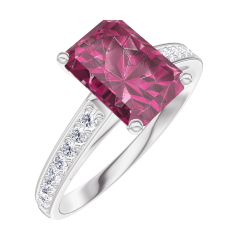 Create Engagement Ring 168008 White gold 9 carats - Ruby Baguette 1 Carats - Setting Diamond white