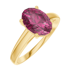 Create Engagement Ring 168101 Yellow gold 18 carats - Ruby Oval 1 Carats